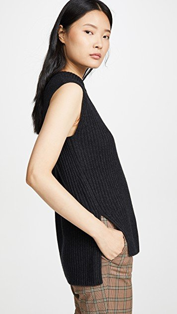 Ribbed Sleeveless Tunic Top
