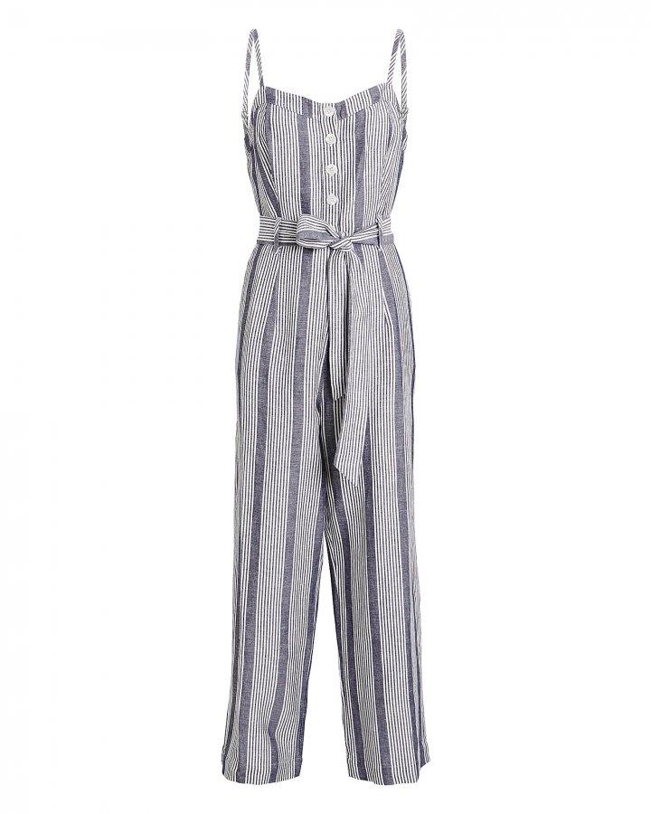 Harper Striped Linen-Blend Jumpsuit
