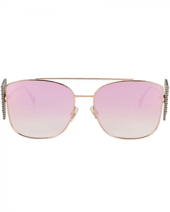 Crystal Logo Aviator Sunglasses