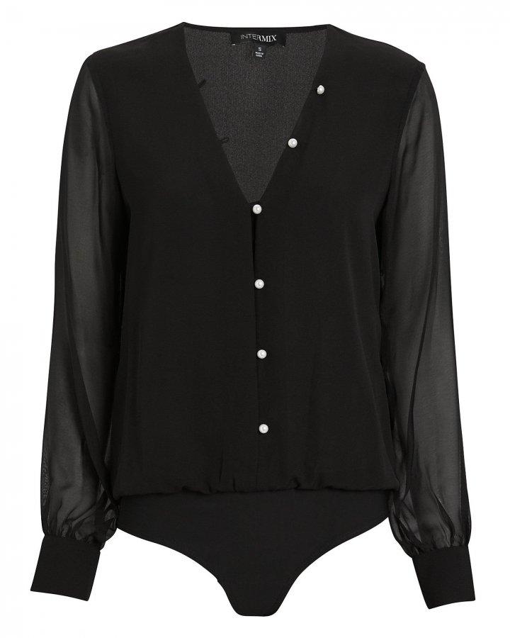Solange Silk Button Front Bodysuit
