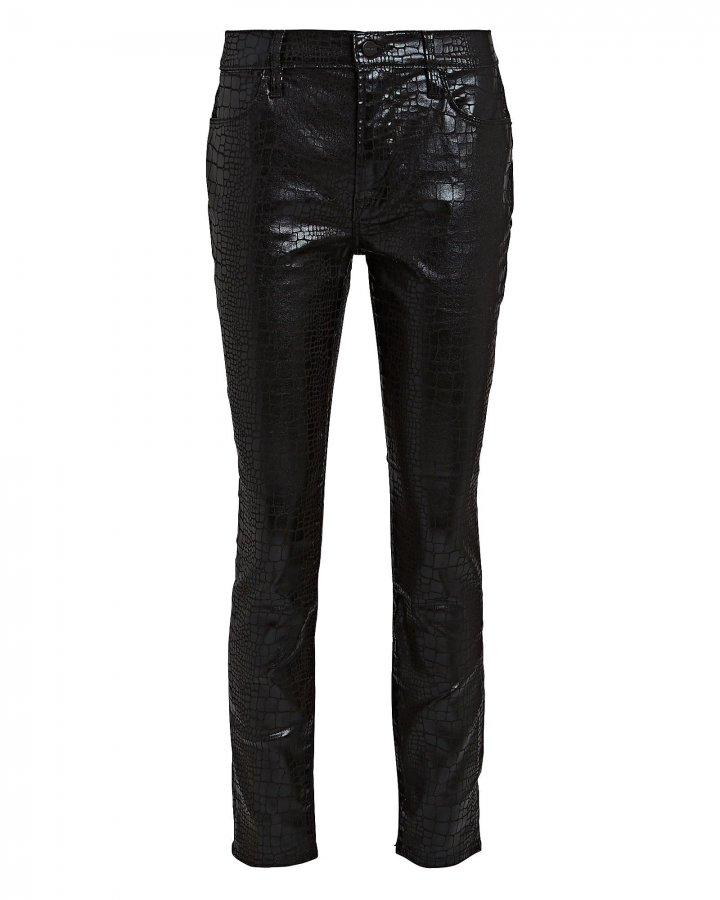 Le High Skinny Croc-Embossed Jeans