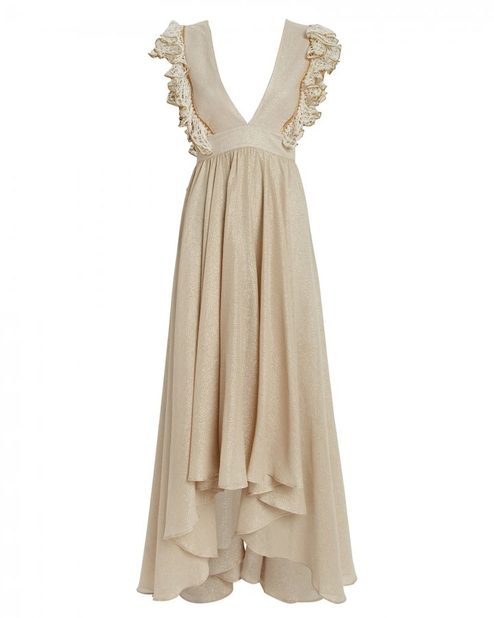 Firel Ruffled Metallic Cotton Dress