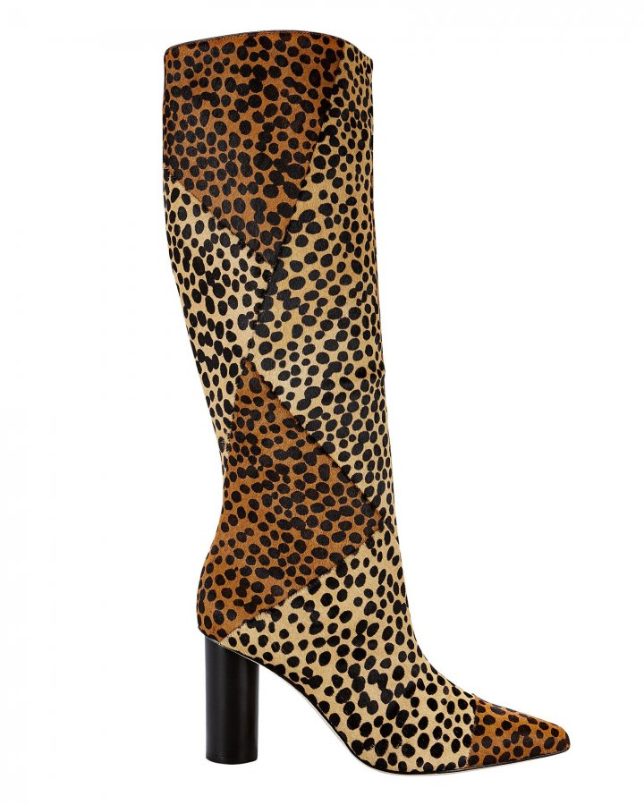 Jerri Leopard Calf Hair Knee-High Boots