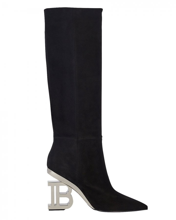 Nelly Logo Heel Suede Boots