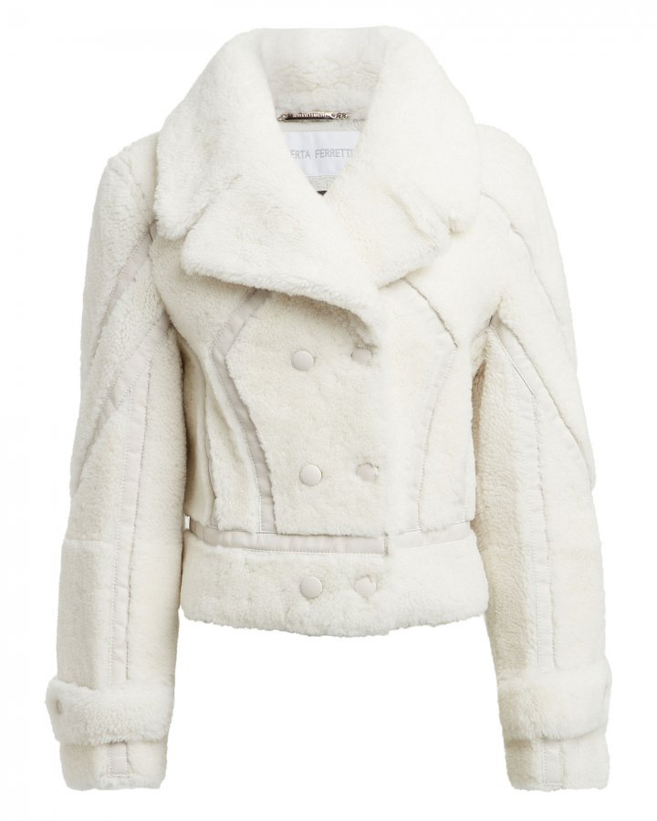 Leather-Trimmed Shearling Peacoat