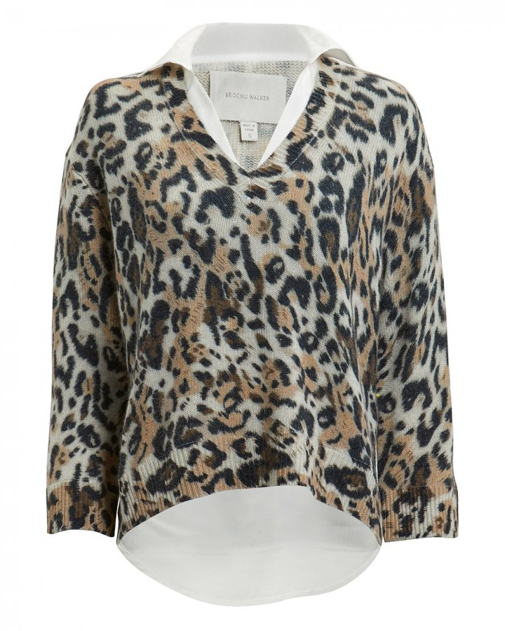 Leopard Layered V-Neck Sweater