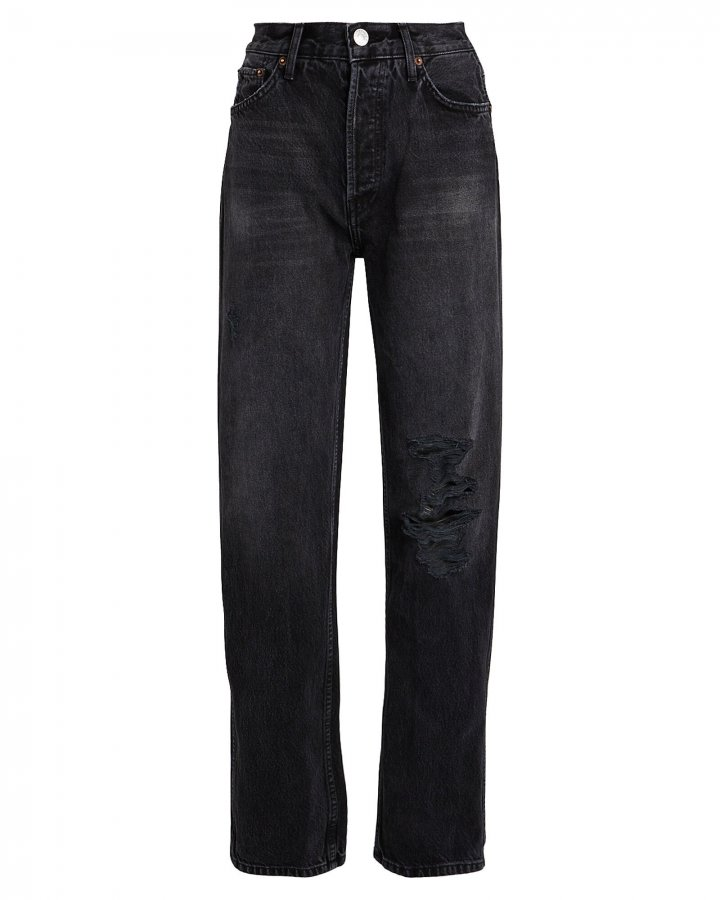 High-Rise Loose Distressed Jeans