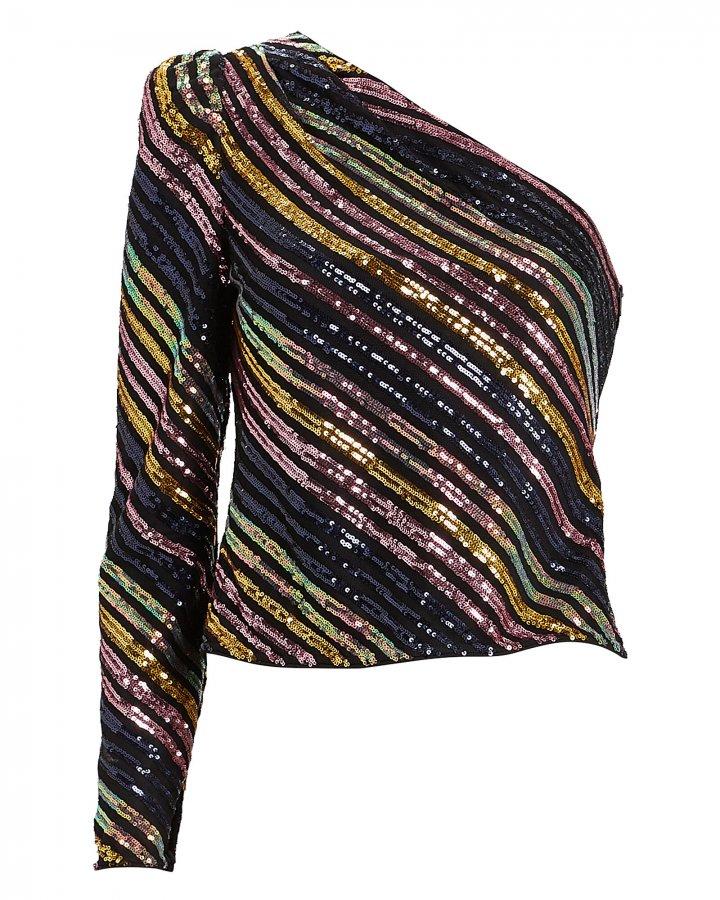 Striped Sequin Asymmetric Top