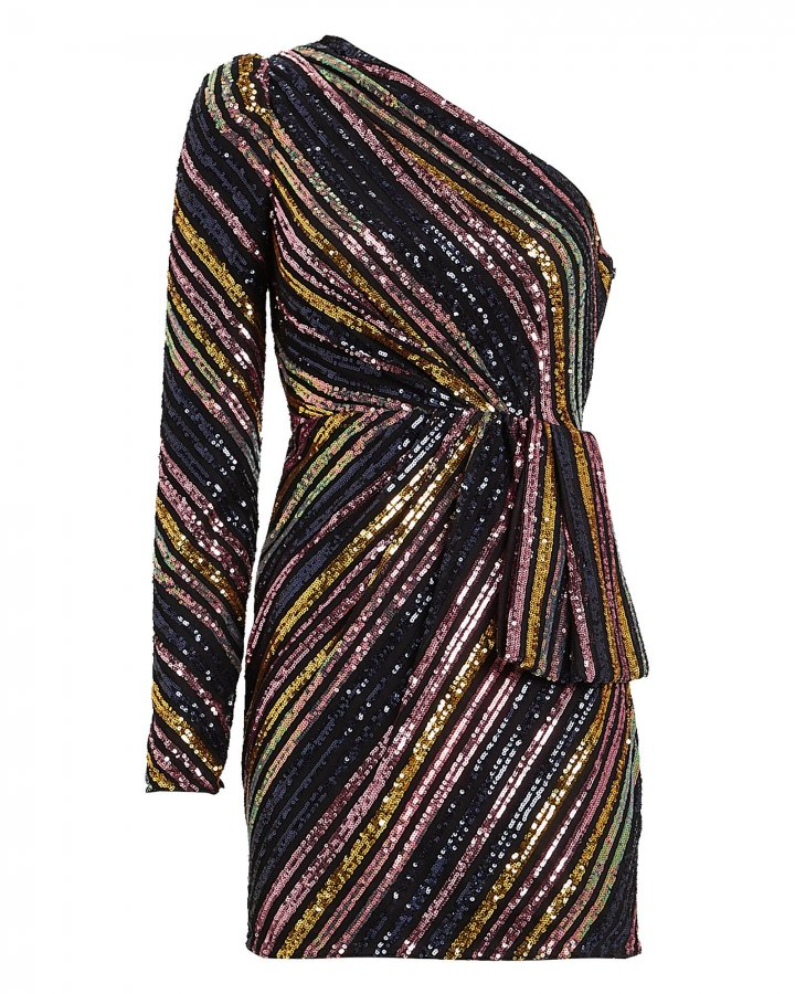 Striped Sequin One-Shoulder Dress