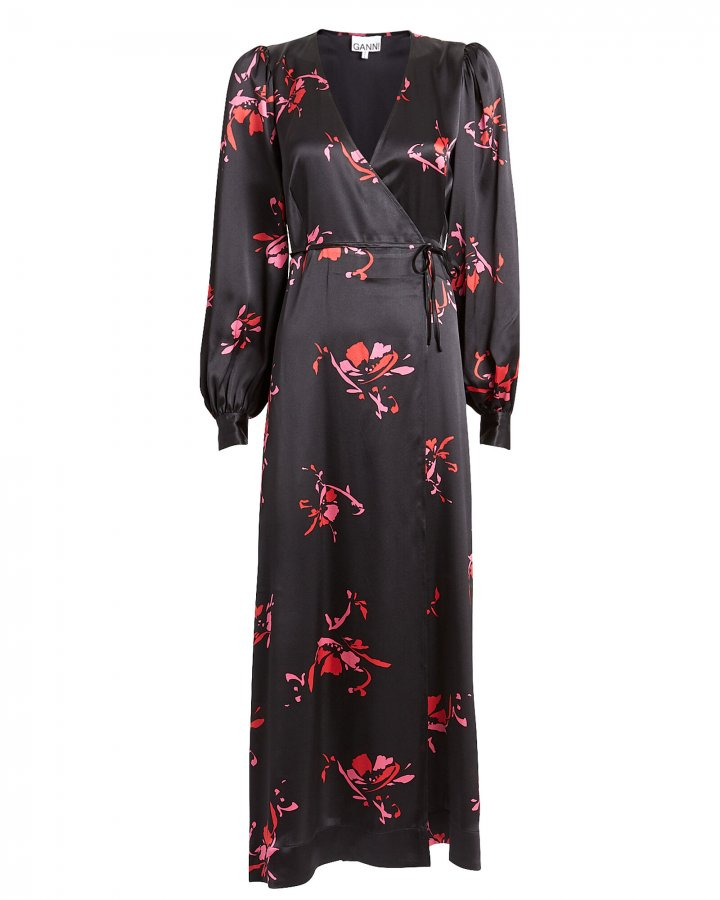 Floral Print Satin Wrap Dress