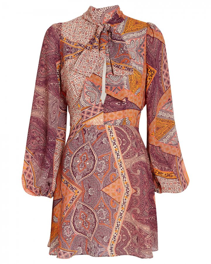 Paisley Tie Neck Dress