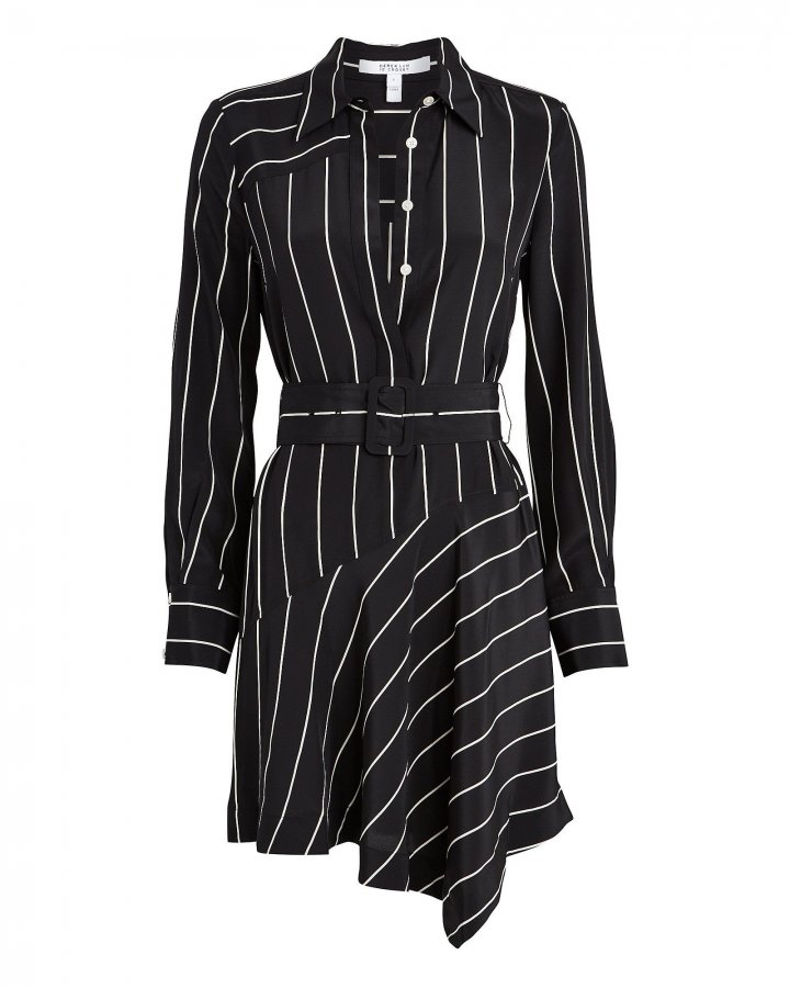Belted Pinstripe Silk Mini Dress