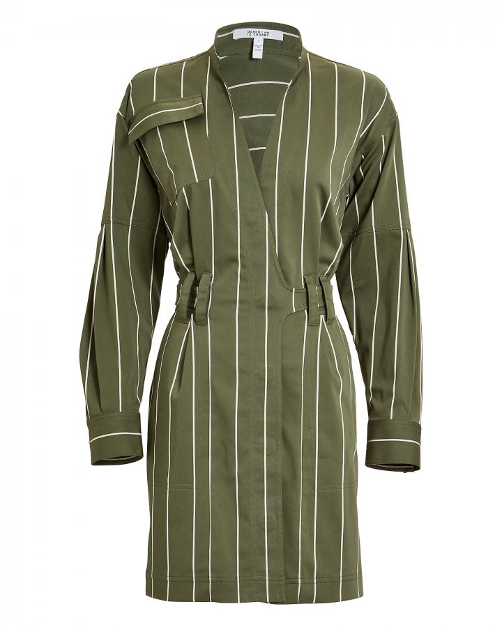 Striped Sateen Utility Wrap Dress