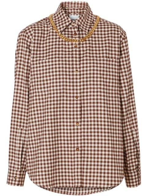Burberry Chain Detail Gingham Shirt - Farfetch