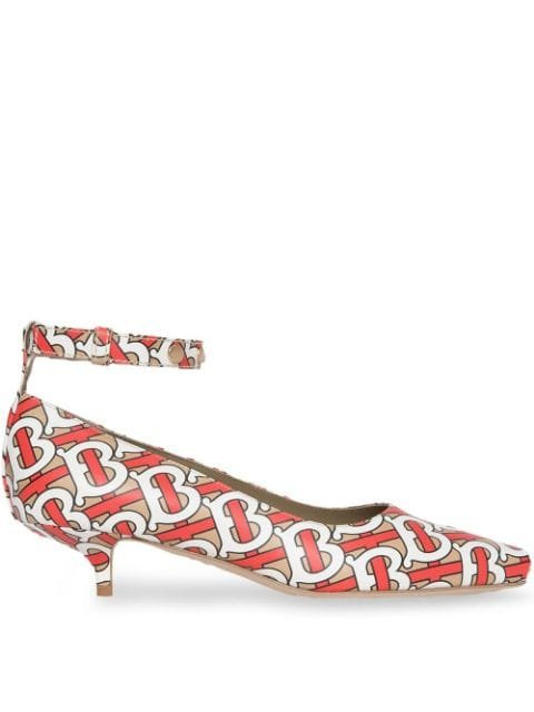 Burberry Monogram Print Leather Peep-toe Kitten-heel Pumps - Farfetch