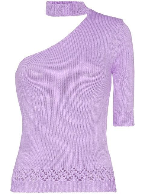 Les Reveries one-shouldered Knitted Mock Neck T-shirt - Farfetch