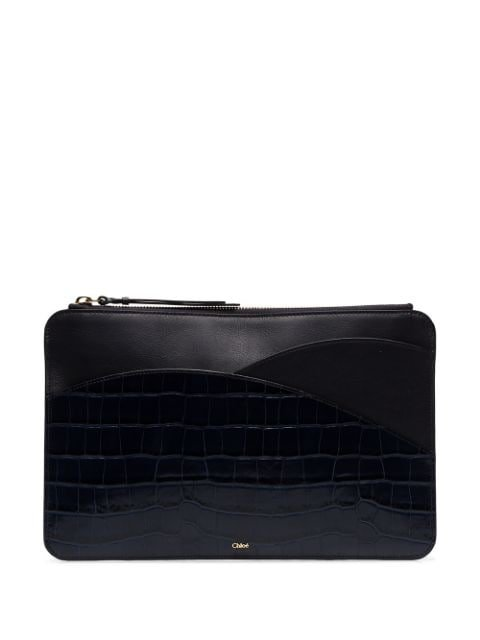Chloé Walden crocodile-effect Clutch - Farfetch