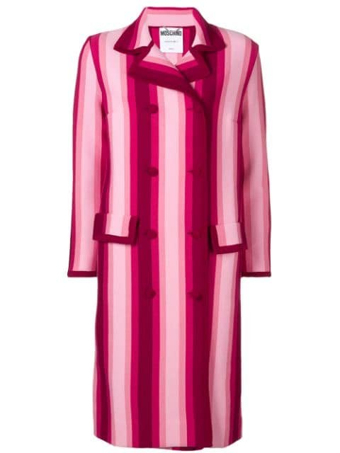 Moschino Striped Double Breasted Coat - Farfetch
