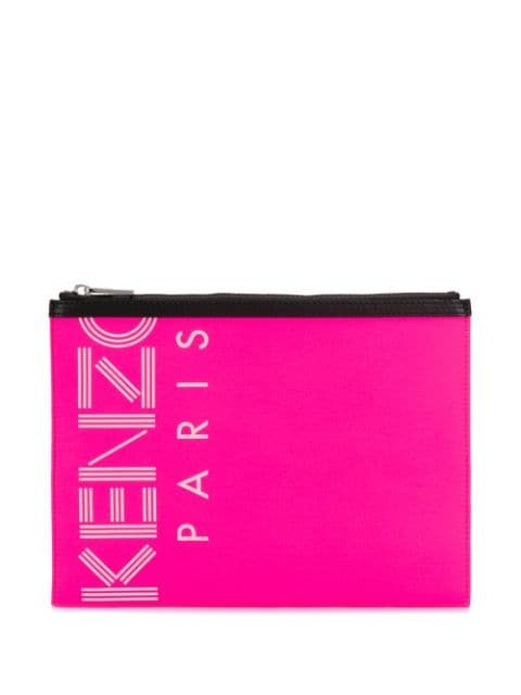 Kenzo Logo Printed Clutch Bag - Farfetch