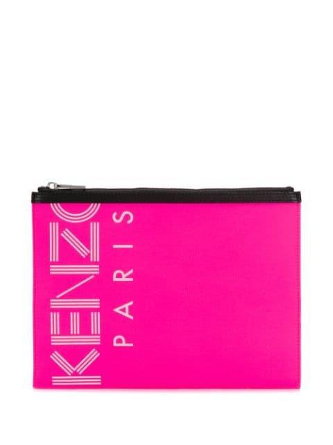 Kenzo Logo Printed Clutch Bag - Farfetch