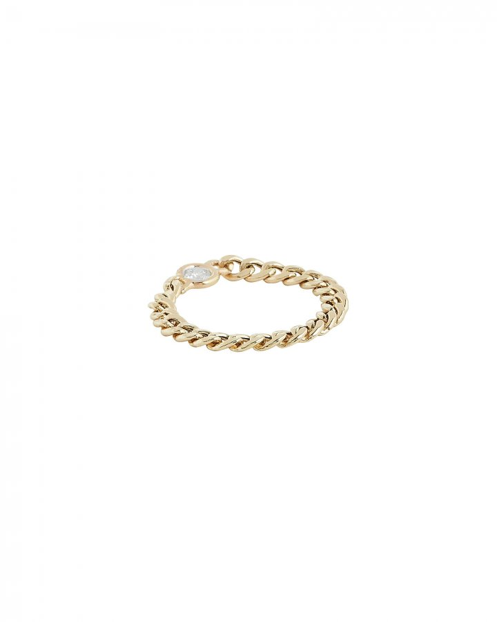 Floating Diamond Curb Chain Ring