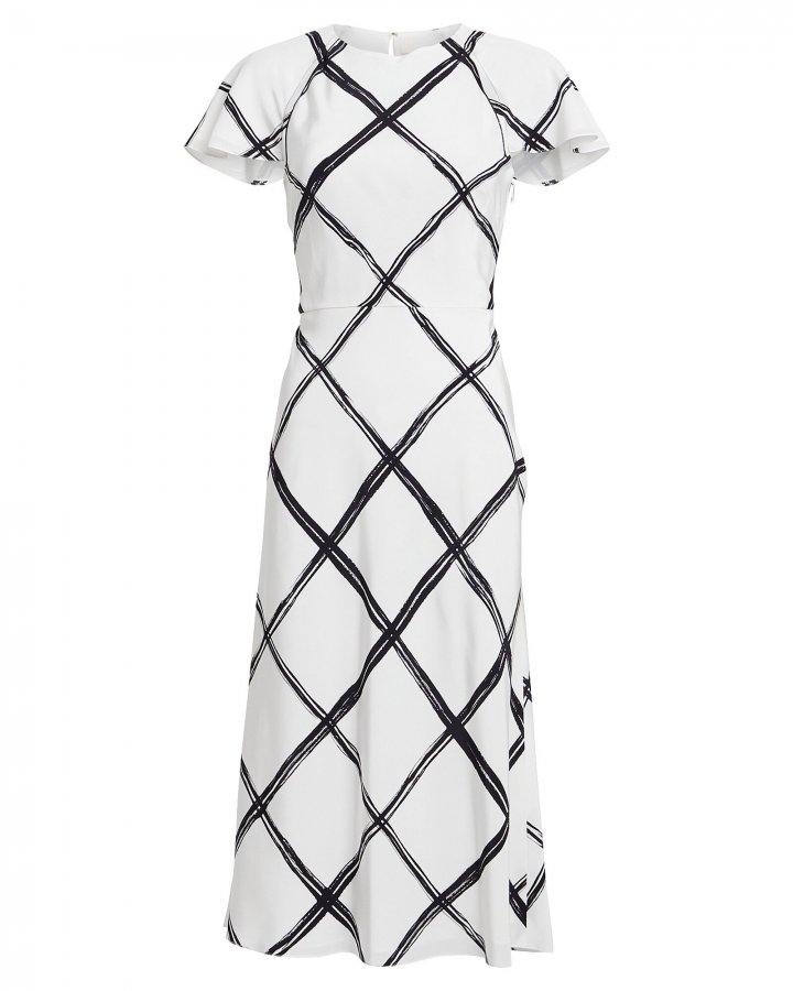 Windowpane Silk Crepe Dress