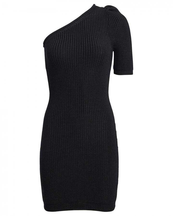 Rib Knit One-Shoulder Dress