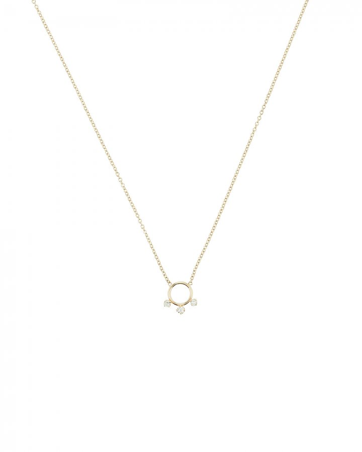 Gold Diamond Ring Pendant Necklace