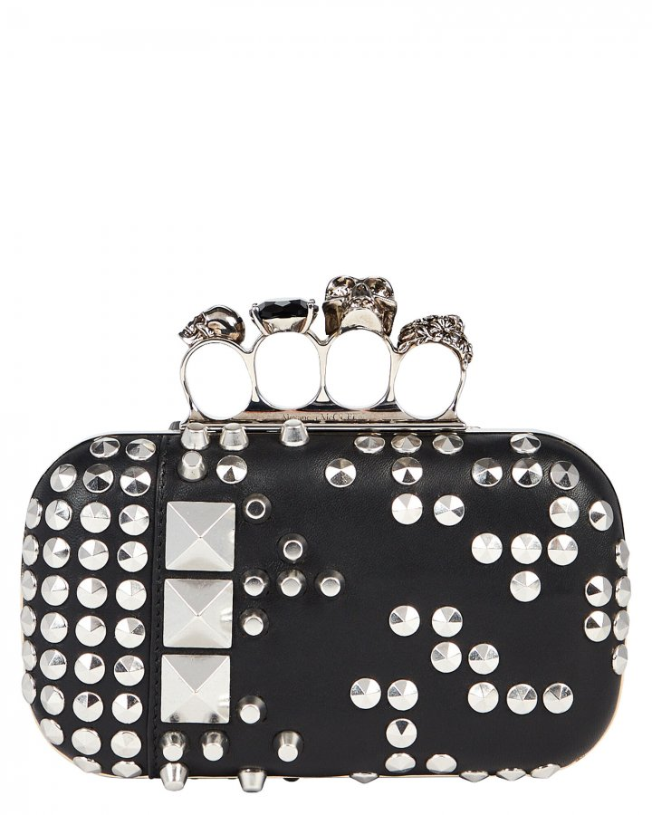 Studded Leather Four Ring Clutch