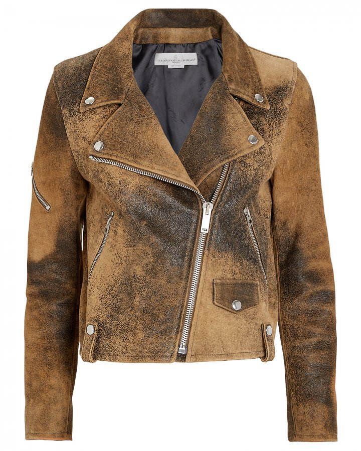 Hanna Distressed Leather Moto Jacket