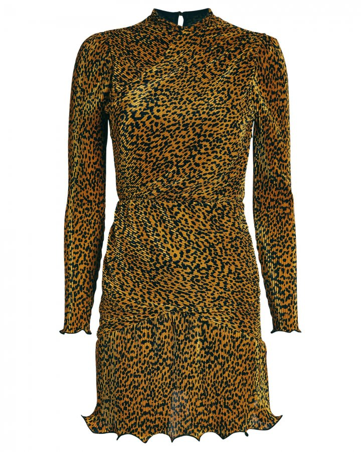 Tovah Leopard Plissé Mini Dress