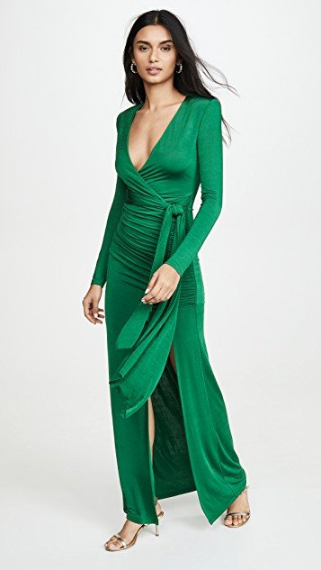 Kyra Deep V Drapey Maxi Dress