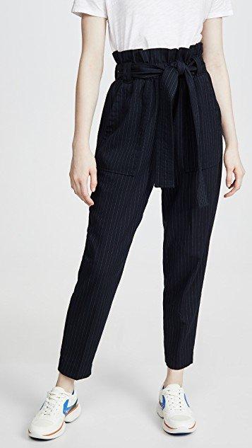 Paperbag Pinstripe Pants