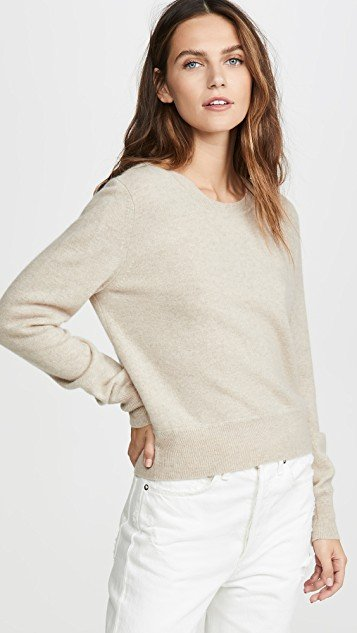 Cropped Crew Cashmere Sweater