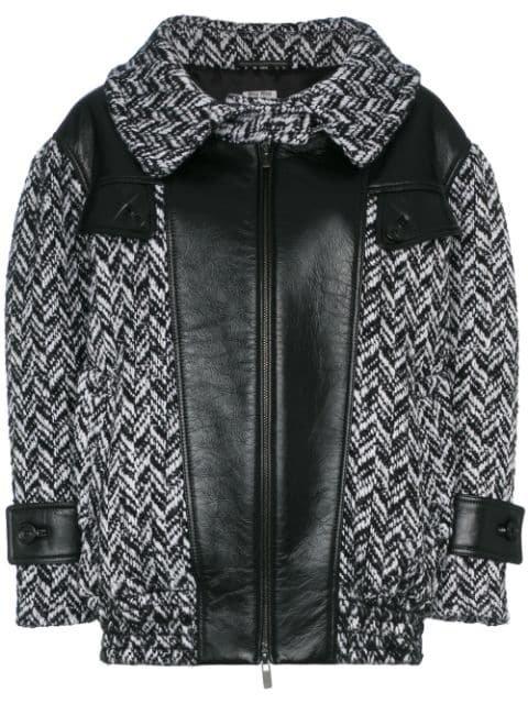 Miu Miu Tweed Napa Leather Coat - Farfetch