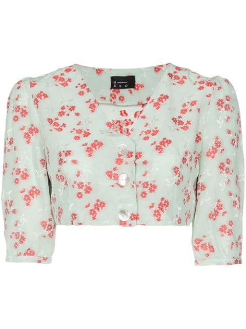N Duo Hamptons Floral Print button-down Crop Top - Farfetch