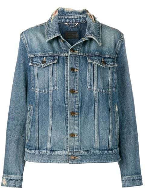 Saint Laurent Frayed Collar Denim Jacket  - Farfetch