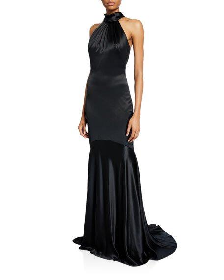Charm Tie-Back Halter Gown with Godet Hem