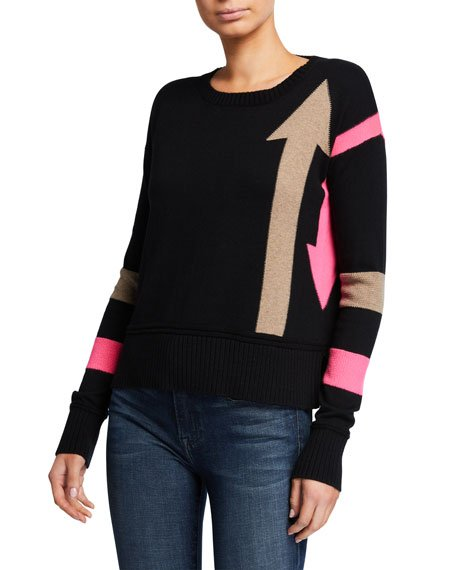 Plus Size Arrow Intarsia Crewneck Cotton-Blend Sweater w/ Stripes