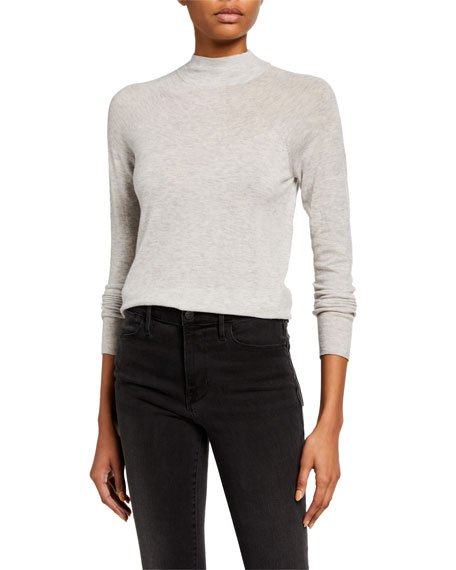 Seamless Funnel-Neck Pullover Sweater