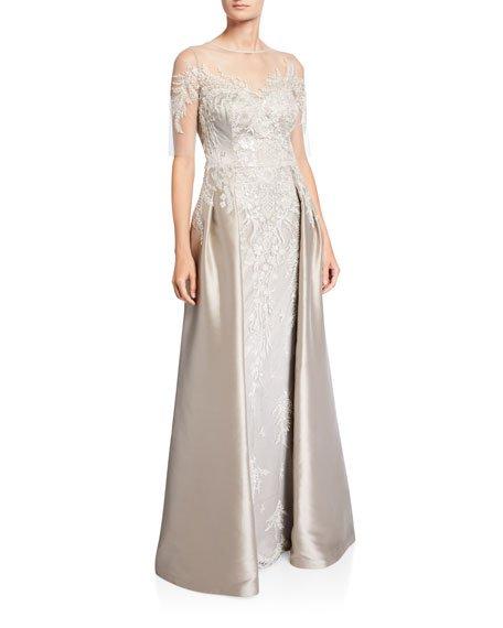 Beaded Column Gown w/ Overskirt