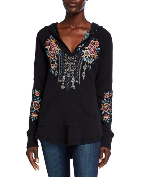 Embroidered Cotton Thermal Sweatshirt