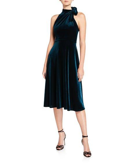 Audrey Velvet Tie-Neck Sleeveless Dress