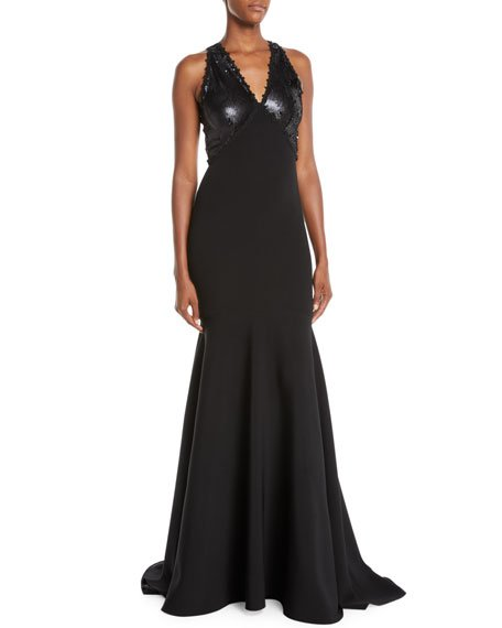 V-Neck Trumpet Gown w/ Sequin Bodice