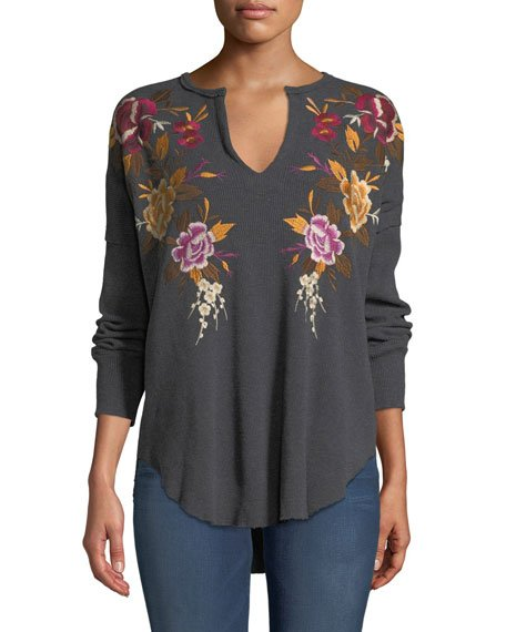 Zosia Floral-Embroidered Thermal Top