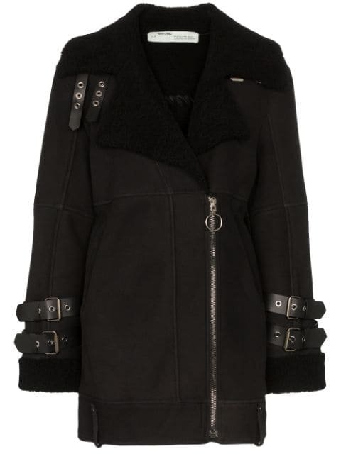Off-White shearling-lined Biker Coat - Farfetch