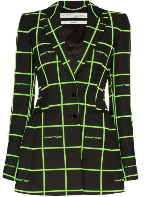 Off-White Check Flared Blazer - Farfetch