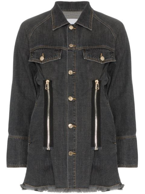 SJYP Zip Detail Denim Jacket - Farfetch