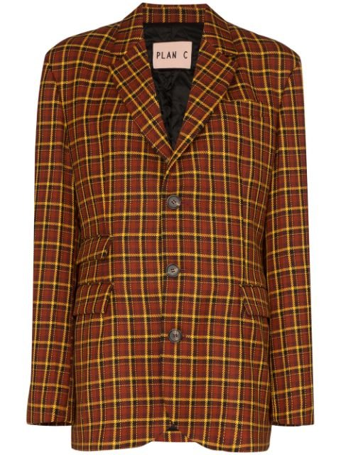 Plan C Check Tailored Blazer - Farfetch