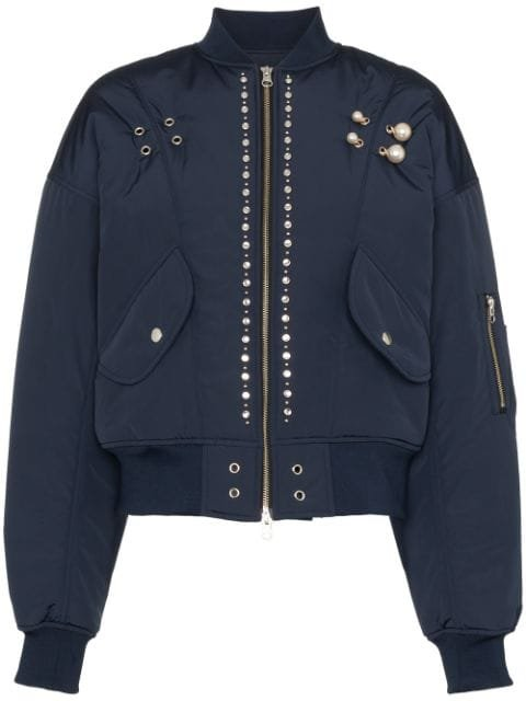 Blindness pearl-applique Bomber Jacket - Farfetch